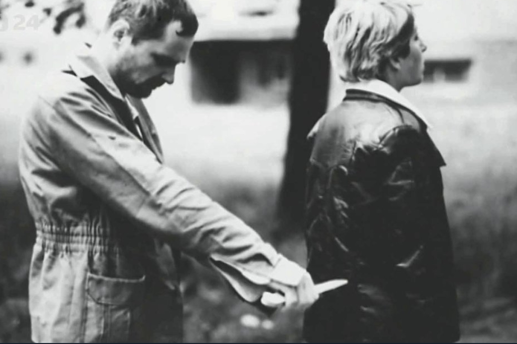 Vladimír Tekverk při rekonstrukci vraždy