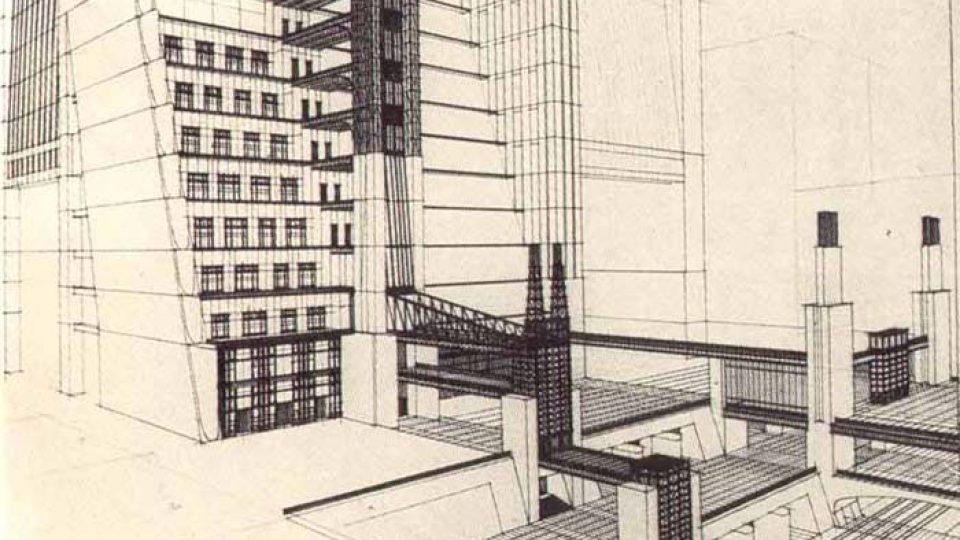 Kresba architektonického návrhu budovy (1914)