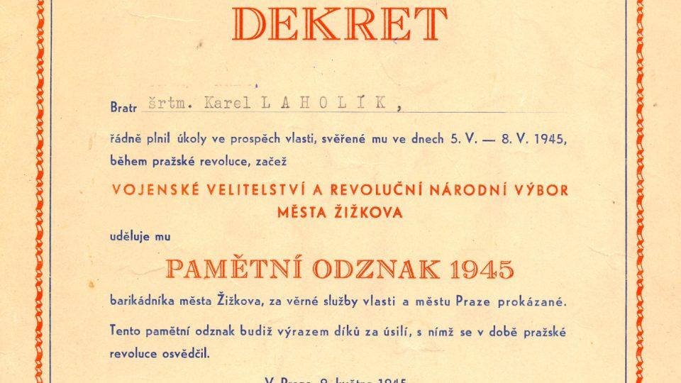 Karel Laholík - Udělení pamětního odznaku