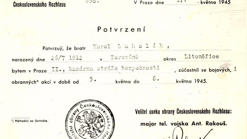 Karel Laholík - Potvrzení o účasti v boji