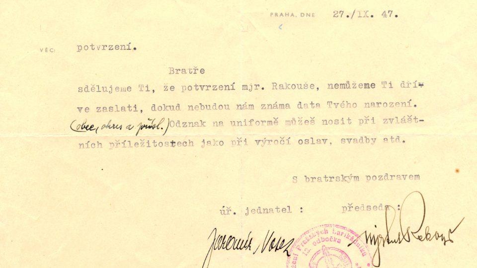 Karel Laholík - Dopis od Bojovníků rozhlasu
